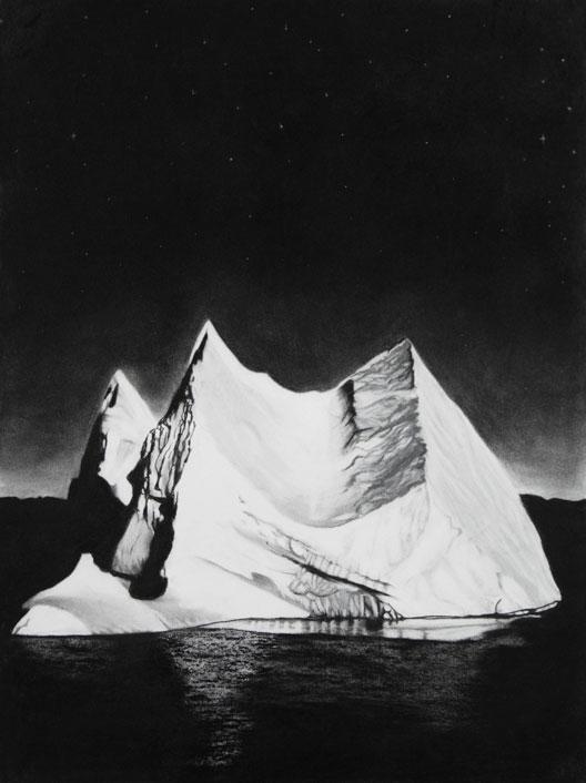 Ice-Floe-fusain,-pastel-blanc-et-pierre-noire-sur-papier-aquarelle-56-x-76-cm-2015
